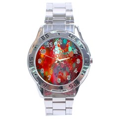 Texture Spots Circles Stainless Steel Analogue Watch