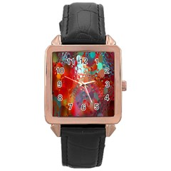 Texture Spots Circles Rose Gold Leather Watch