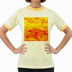 Bright Background Orange Yellow Women s Fitted Ringer T Shirts