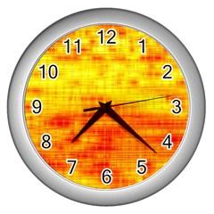 Bright Background Orange Yellow Wall Clocks (silver)