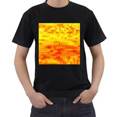 Bright Background Orange Yellow Men s T-Shirt (Black) (Two Sided)