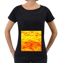 Bright Background Orange Yellow Women s Loose-Fit T-Shirt (Black)
