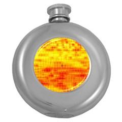 Bright Background Orange Yellow Round Hip Flask (5 oz)