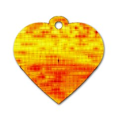 Bright Background Orange Yellow Dog Tag Heart (Two Sides)