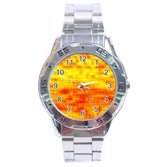 Bright Background Orange Yellow Stainless Steel Analogue Watch