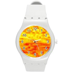 Bright Background Orange Yellow Round Plastic Sport Watch (M)