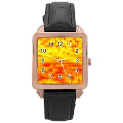 Bright Background Orange Yellow Rose Gold Leather Watch