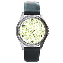 Leaves Pattern Seamless Round Metal Watch