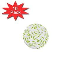 Leaves Pattern Seamless 1  Mini Buttons (10 Pack)