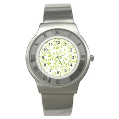 Leaves Pattern Seamless Stainless Steel Watch