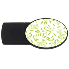 Leaves Pattern Seamless Usb Flash Drive Oval (4 Gb)