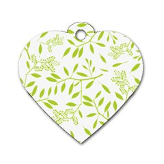 Leaves Pattern Seamless Dog Tag Heart (one Side)