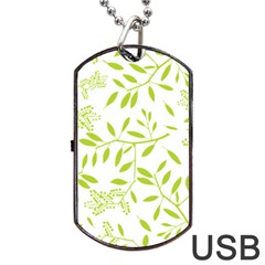 Leaves Pattern Seamless Dog Tag USB Flash (Two Sides)