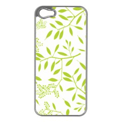 Leaves Pattern Seamless Apple iPhone 5 Case (Silver)
