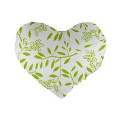 Leaves Pattern Seamless Standard 16  Premium Heart Shape Cushions