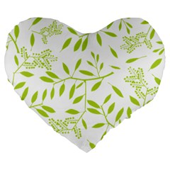 Leaves Pattern Seamless Large 19  Premium Heart Shape Cushions
