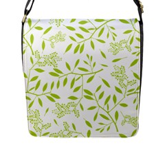 Leaves Pattern Seamless Flap Messenger Bag (L)