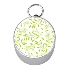 Leaves Pattern Seamless Mini Silver Compasses