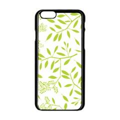 Leaves Pattern Seamless Apple iPhone 6/6S Black Enamel Case