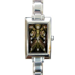 Fractal Abstract Patterns Gold Rectangle Italian Charm Watch