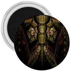 Fractal Abstract Patterns Gold 3  Magnets