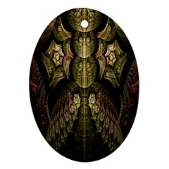 Fractal Abstract Patterns Gold Ornament (oval)