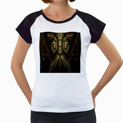 Fractal Abstract Patterns Gold Women s Cap Sleeve T