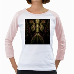 Fractal Abstract Patterns Gold Girly Raglans