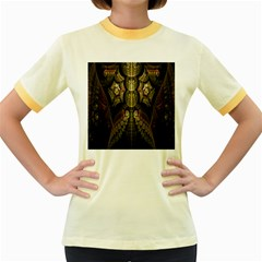Fractal Abstract Patterns Gold Women s Fitted Ringer T-Shirts