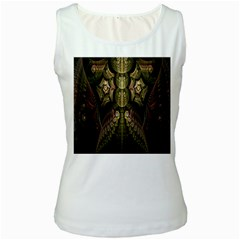 Fractal Abstract Patterns Gold Women s White Tank Top