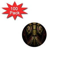 Fractal Abstract Patterns Gold 1  Mini Buttons (100 pack)