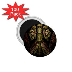 Fractal Abstract Patterns Gold 1 75  Magnets (100 Pack)