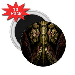 Fractal Abstract Patterns Gold 2.25  Magnets (10 pack)