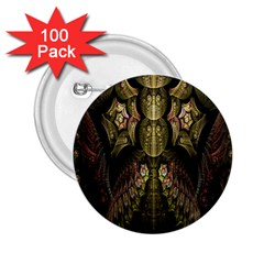 Fractal Abstract Patterns Gold 2.25  Buttons (100 pack)