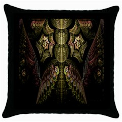 Fractal Abstract Patterns Gold Throw Pillow Case (Black)