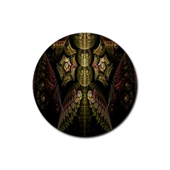 Fractal Abstract Patterns Gold Rubber Coaster (Round)