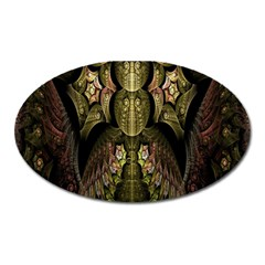 Fractal Abstract Patterns Gold Oval Magnet
