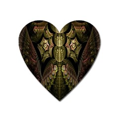 Fractal Abstract Patterns Gold Heart Magnet