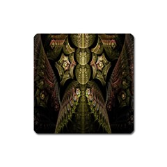 Fractal Abstract Patterns Gold Square Magnet