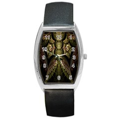 Fractal Abstract Patterns Gold Barrel Style Metal Watch