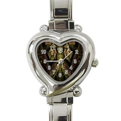 Fractal Abstract Patterns Gold Heart Italian Charm Watch