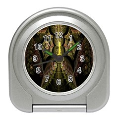 Fractal Abstract Patterns Gold Travel Alarm Clocks