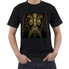 Fractal Abstract Patterns Gold Men s T Shirt (black) (two Sided)