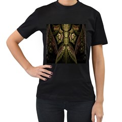 Fractal Abstract Patterns Gold Women s T-Shirt (Black) (Two Sided)