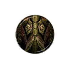 Fractal Abstract Patterns Gold Hat Clip Ball Marker