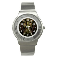 Fractal Abstract Patterns Gold Stainless Steel Watch