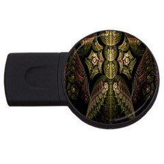 Fractal Abstract Patterns Gold USB Flash Drive Round (4 GB)