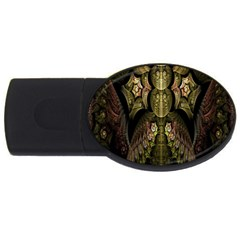 Fractal Abstract Patterns Gold USB Flash Drive Oval (4 GB)