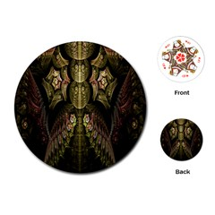 Fractal Abstract Patterns Gold Playing Cards (round)