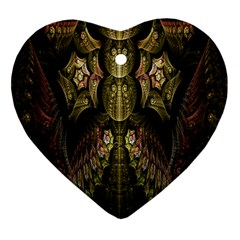 Fractal Abstract Patterns Gold Heart Ornament (Two Sides)